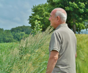 Man staring over a field
