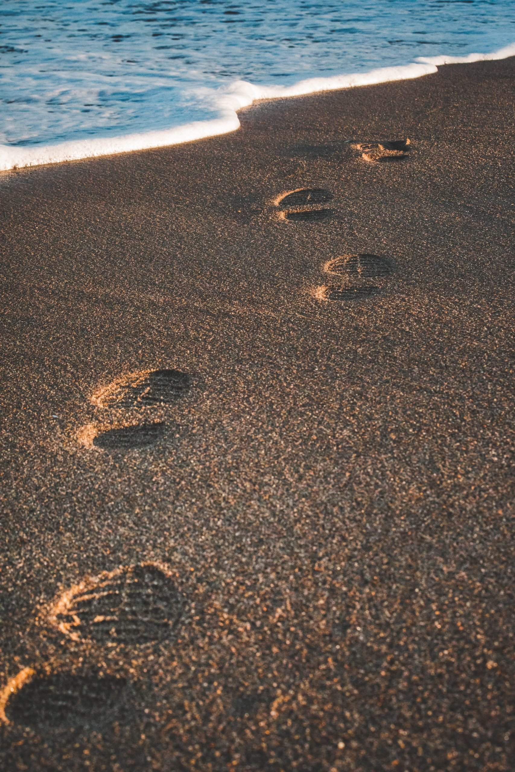 footprints on a sandy beach